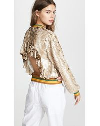 ANOUKI - Sparkly Bomber Jacket With Cutout Back - Lyst
