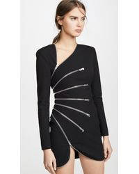 Alexander Wang Long Sleeve Sunburst Zip Dress - Black