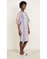 Tata Naka - Button Down Dress With Puff Sleeves - Lyst