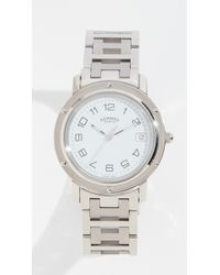 What Goes Around Comes Around - Hermes White Sc Clipper Gm Watch - Lyst