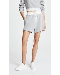 T By Alexander Wang | Heavy Waffle Knit Gym Shorts | Lyst