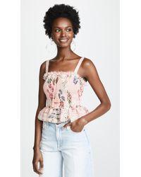 Nicholas - Lilac Floral Shirred Crop Top - Lyst
