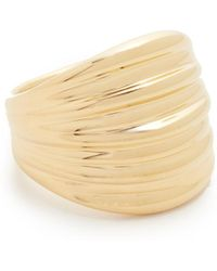 Soave Oro - Ribbed Graduated Ring - Lyst