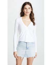 Three Dots - Ribbed Cropped Cardigan - Lyst