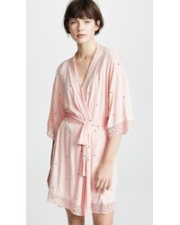 Eberjey - Dots Lace Trim Short Robe - Lyst
