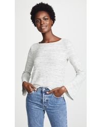 Three Dots - Chunky Heather Thermal Top With Flare Sleeves - Lyst