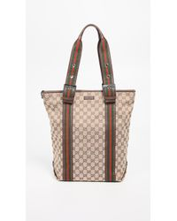 6940e9b7aa3 What Goes Around Comes Around - Gucci Brown Canvas Web Tote Bag - Lyst