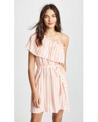 Shoshanna - Umbrella Stripe One Shoulder Tie Waist Dress - Lyst