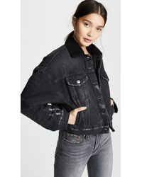 PRPS - Cropped Denim Jacket With Sherpa Lining - Lyst