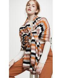 White + Warren Multi Colour Stripe Cashmere Travel Wrap - Black