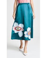 Mira Mikati - Satin Flower Midi Skirt - Lyst
