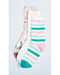Kate Spade - 3 Pack Of Botanical Socks - Lyst