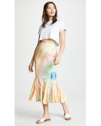 0d68c1e356 Lyst - CALVIN KLEIN 205W39NYC Pleated Stripe Knit Skirt Sienna/ocean ...