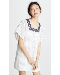 Madewell - Striped Dress With Embroidered Medallions - Lyst