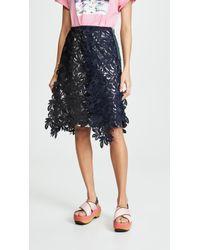 Kolor - Raw Hem Lace Skirt - Lyst