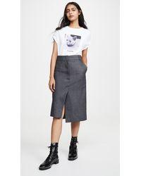 Cedric Charlier Grey Pinstripe Skirt - Gray