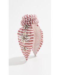 NAMJOSH - Striped Shell Embellished Bun Headband - Lyst