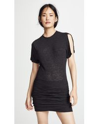 Monrow - Slash Sleeve Shirred Dress - Lyst