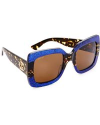 Gucci - Square Urban Web Block Sunglasses - Lyst