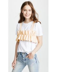 Endless Rose - Ruffled Crop Top With T-shirt - Lyst