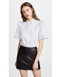 CLU - Polka Dot Shirt With Ruffle - Lyst