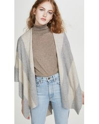 White + Warren Block Stripe Cashmere Poncho - Gray