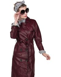 BURU White Label I Spy A Patent Leather Trench - Red
