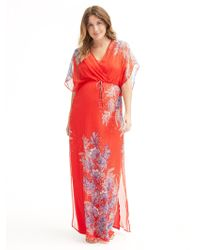 Ella Moss - Floral Silk Maxi Dress - Flame - Lyst
