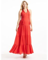 Ella Moss - Tiered Maxi Dress - Flame - Lyst