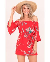 Showpo - Luella Dress In Red Floral - Lyst