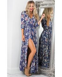 Showpo - Lone Traveller Maxi Dress In Indigo Floral - Lyst