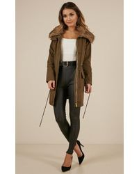 Showpo - Ice Stormer Jacket In Khaki - Lyst