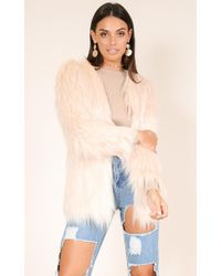 Showpo - Faux Real Coat In Blush - Lyst