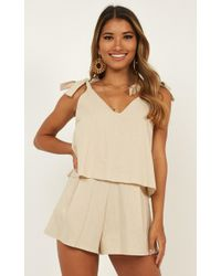 253d7ae01b7 Lyst - Showpo Last A Lifetime Playsuit in Natural