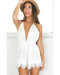 Showpo - Chase The Sun Playsuit In White Crochet - Lyst