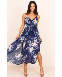 Showpo - Thank Me Later Dress In Navy Floral - Lyst