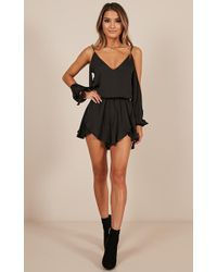 Showpo - Cant Believe Playsuit In Black - Lyst