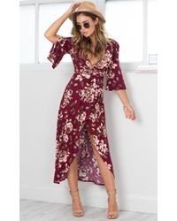 Showpo | Slipped Away Dress In Wine Floral | Lyst