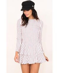 Showpo | Candles At Sunset Dress In White Stripe | Lyst
