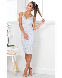 Showpo - Hold On Tight Dress In Navy Print - Lyst