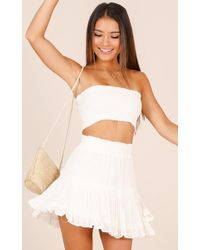 Showpo - Outside The Line Two Piece Set In White - Lyst