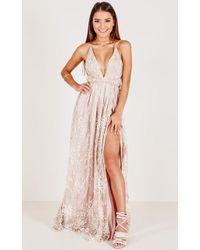Showpo - New York Nights Maxi Dress In Gold - Lyst