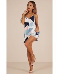 Showpo - Crash My Party Dress In White Print - Lyst