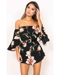 Showpo | Follow Up Playsuit In Black Floral | Lyst