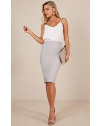 Showpo - Claim It Back Skirt In Grey - Lyst