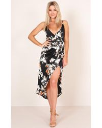 Showpo - One More Night Dress In Black Floral - Lyst