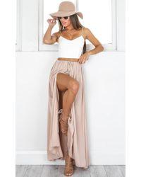Showpo - Under The Twilight Maxi Skirt In Beige - Lyst