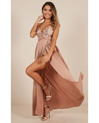 Showpo - Fix You Maxi Dress In Beige - Lyst