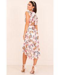 Showpo   Tighten The Strings Dress In Blush Floral   Lyst