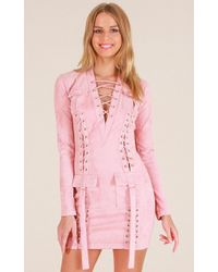Showpo | For A Good Time Dress In Blush Suedette | Lyst